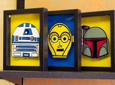Maybe I'll do this with my extra shadow boxes    Star Wars Art Prints Boba Fett R2D2 and C3PO Art 3D by PopsicArt, $67.00