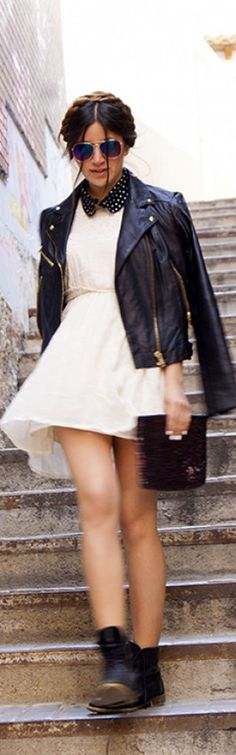 Biker jacket made to look girlie - love! #StreetStyle #Fashion