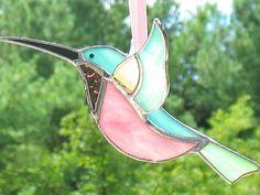 Hummingbird stained glass 3D sun catcher. Green window hanging bird ornament gardener's gift, birthday gift, garden decor stained glass art