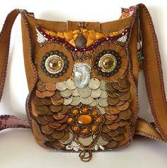 Owl Purse- OOAK Bead Embroidered fuax Suede Bag. $350.00, via Etsy.