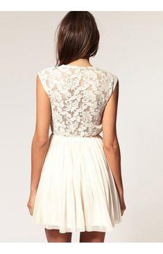 Elegant Spitze Kurz U Ausschnitt Festliche Kleider zur Hochzeit-LFPT55