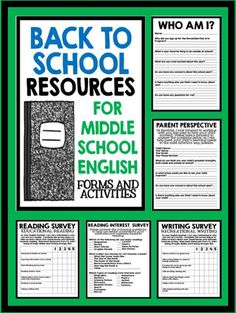 Back to School Resources for Middle School English - Forms and Activities!