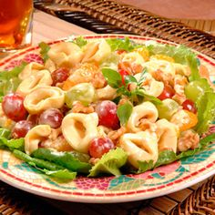 Mandarin oranges and grapes pair perfectly with cheese tortellini in this cool and refreshing pasta salad.