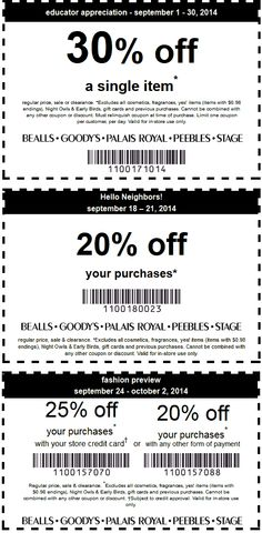 Pinned September 15th: 30% off a single item & more at #Bealls, Goodys, Palais Royal, Peebles & Stage #coupon via The #Coupons App