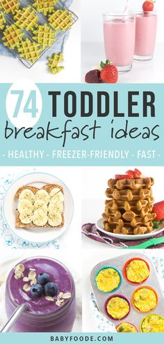 These 74 Toddler Breakfast Ideas are the perfect healthy and easy recipes you need for busy weekday mornings! All of these recipes can be made once and served throughout the week, made in 5 minutes or freezer-friendly! Great for toddlers, kids and you! Healthy Toddler Breakfast, Healthy Breakfast Smoothies, Baby Breakfast, Healthy Breakfasts, Breakfast Ideas For Toddlers, Kid Friendly Healthy Breakfast, Easy Healthy Recipes, Baby Food Recipes, Healthy Recipes For Toddlers