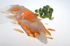 elBulli – Soy sauce macaroni with egg yolk, miso, sesame and green shiso