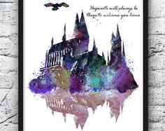 Hogwarts Schloss Harry Potter Hogwarts Malerei Movie Poster Aquarell Print lila Kids Wand hängenden Kinder Zimmer Home Decor - 276-2