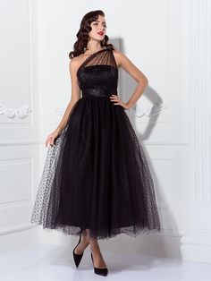 A-line One Shoulder Tea-length Tulle Cocktail/Prom Dress Inspired By Kaley Cuoco At The Emmys  - USD $69.99