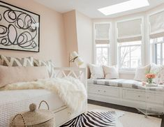 Gorgeous white and pink bedroom