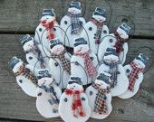 Snowmen Group of 12 Salt Dough Party Favors / Winter Wedding Favors /  Xmas Ornaments / Gift Tags #EasyNip