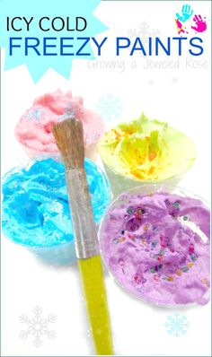 Easy to make FREEZY PAINTS - Create beautiful works of art with these super fluffy, icy paints - a perfect way for kids to beat the heat this summer!