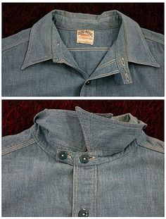SANFORIZED: Big Mac circa 1930's chambray work shirt. Rugged Style, Denim Outfit, Denim Shirt, Chambray Shirts, Vintage Denim, Vintage Shirts, Vintage Wear, Workwear Fashion, Mens Fashion