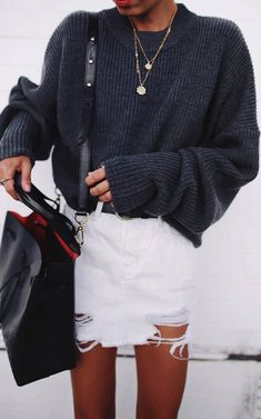 how to style a white denim skirt : oversized sweater + bag