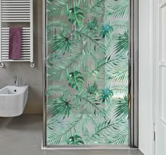 Tropical Plants Shower Screen Sticker #tropical #leaves #exotic #relaxation #shower #bathroom #decor #wallstickers Bathroom Stickers, Bathroom Vinyl, Door Stickers, Glass Bathroom, Glass Shower, Shower Bathroom, Tropical Showers, Tropical Bathroom, Tropical Design
