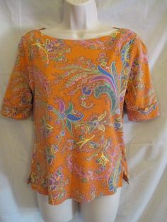 0120615 Lauren Ralph Lauren Orange Paisley Pattern Short Sleeve Cuff Blouse M #LaurenRalphLauren #Blouse #Casual