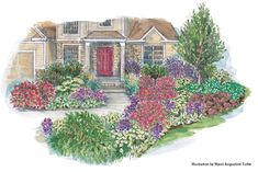 Front Yard Garden Design Multiseason beauty for the front of the home: Highlight your home's entryway with color that lasts through the seasons. - Highlight your home's entryway with color that lasts through the seasons. Front Yard Garden Design, Garden Design Plans, Yard Design, Outdoor Landscaping, Front Yard Landscaping, Landscaping Ideas, Front Walkway, Tropical Landscaping, Landscaping Plants