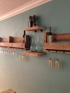 Pallet wine rack with shelves- I love rustic feel of this!! Kitchen idea