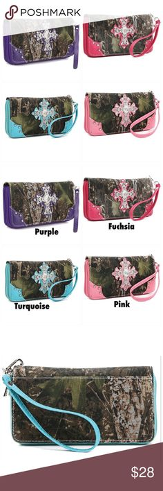 NEW Camouflage Wristlet Wallets 4 Colors Available Canvas with camo print Faux leather trim Zip around closure Silver-tone hardware Detachable wrist band L 7.5 * H 4.5 * W 1 Bags Wallets