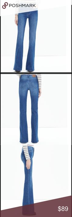 """Madewell flea market flare jeans in kara wash This leg-lengthening jean is our own icon in the making. With a high rise, sleek welt pockets and a 33"""" inseam, it gives you that '70s cover-girl look—not to mention an unbeatably sweet rearview.   Premium 98% cotton/2% elastane denim from Italy's Candiani mill. Bright '70s-inspired indigo wash with a subtly worn-in look. Welt pockets. Matte silver hardware, tonal stitching. Sit above hip, fitted through hip and thigh, with a flare leg. Front…"""