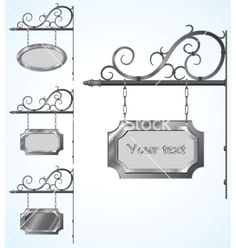 Wrought Iron Signs for Old-Fashioned Design Vector wrought iron high detailed signs for old-fashioned design Created: 26 November 13 Graphics Files Included: JPG Image EPS Illustrator Layered: No Minimum Adobe CS Version: CS Tags advertisement