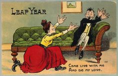 icollect247.com Online Vintage Antiques and Collectables - Leap Year Postcard 1907-15 Paper Ephemera-Postcards and