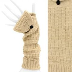 Fingerless Gloves Elbow Length with Mitten Finger Cover Beige Soft One Size  http://stores.ebay.com/beachcats-bargains  beachcats bargains