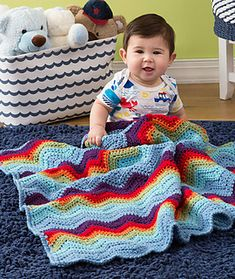 Free ripple stitch crochet baby blanket - Zigzag Baby Blanket. Everyone loves rippling chevron patterns, and this six-color blanket is an outstanding version. Crochet it now and have it ready to welcome a special new baby into the world! Free Pattern