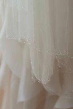 Custom Crystal and Pearl One Tier Wedding Veil, Fingertip Veil, Italian Tulle Crystal Veil, Pearl Veil, Sparkly Veil
