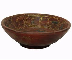 Handmade Chinese Red Wood Bowl With Gold Painted Filial Piety Story n200S