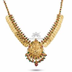 Traditional gold necklaces for women from the house of Kameswari. Shop for antique gold necklace, exquisite diamond necklace and more! Silver Jewellery Indian, Gold Jewellery, India Jewelry, Temple Jewellery, Antique Jewellery, Jewelery, Gold Earrings Designs, Necklace Designs, Gold Designs