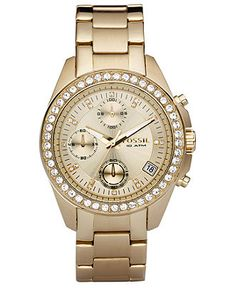 Fossil Decker Gold Tone Stainless Steel Bracelet 38mm ES2683 - All Watches - Jewelry & Watches - Macy's