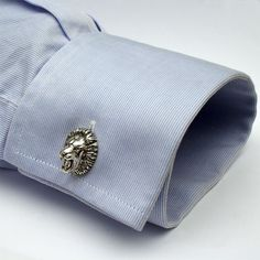 Fierce Lion Cufflinks, Sterling Silver, Handmade. $84.00, via Etsy.