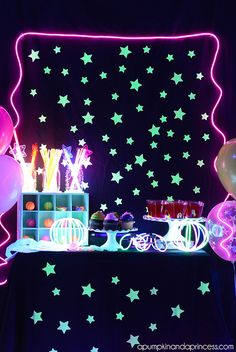 Glow in the Dark Party by A Pumpkin and a Princess and other great party ideas and party decor!