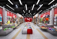 One of the earliest projects in the field of store design. Made as a conceptual offer for the Puma brand as a demonstration of the work abilities in such specific sphere of design. The concept of using deep and narrow space based on highlighting the direc…