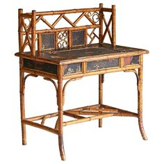 Late 19th Century English Bamboo Desk with Elaborated Details and Features 1
