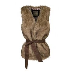 Open Front Faux Fur Sleeve Tie Waist Vest (180 CNY) ❤ liked on Polyvore featuring outerwear, vests, faux fur waistcoat, vest waistcoat, brown waistcoat, fake fur vest and brown vest