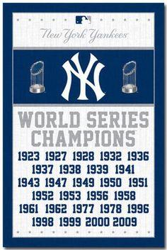 NEW YORK YANKEES - WORLD SERIES CHAMPIONS POSTER - 22x34 BASEBALL 6747
