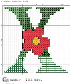 alfabeto bicolore con fiore: X