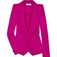 Vanessa Bruno Angular shoulder jacket ($265) ❤ liked on Polyvore featuring outerwear, jackets, blazers, tops, draped blazer, pink blazer jacket, blazer jacket, fuschia pink blazer and vanessa bruno jacket