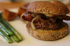 Burgers with goat-cheese, caramelized onion, and bacon