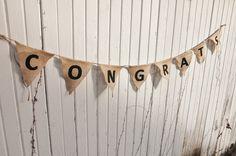 Congrats-Burlap Flag Banner w/ Jute Twine- 5 Feet-Wedding/Reception/Engagement Party Decor- Rustic/Barn Wedding/ Folk/Country/Shabby Chic