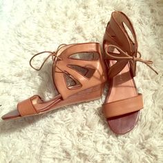 Jeffrey Campbell Leather Wedge Sandals Two toned leather sandals with small wedge. Super cushy footbed. Worn twice. The perfect nude sandal-- goes with everything! Jeffrey Campbell Shoes Sandals