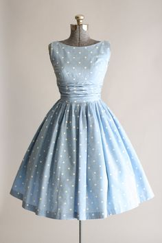 Vintage 1950s Dress / 50s Cotton Dress / Blue and White Polka Dot Dress w…