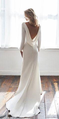 36 Totally Unique Fashion Forward Wedding Dresses ❤ fashion forward wedding dresses sheath low back with long sleeves simple anne barge #weddingforward #wedding #bride