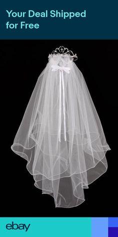 f30d729cfeb Holy First Communion Flower Girl Crown Cross Veil Bridal Tiara Wedding  Crystal