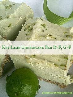 Raw Vegan Key Lime Cheesecake Bars - crust: rolled oats, pecans, maple syrup; my adapted partial filling list: raw cashews, baby spinach, limes, honey or maple syrup, coconut oil; practicalstewardship