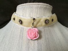 Cream Velvet Choker with Pink Rose by BecksCuriousities on Etsy