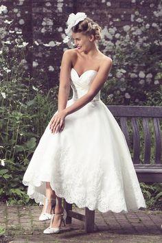 Tea Length Bridal and 50's Style Short Wedding Dresses | Brighton Belle | Aubrey | True Bride