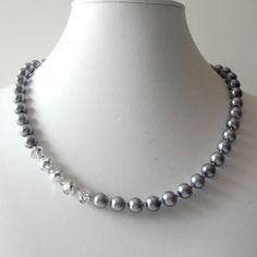 Dark Gray Pearl Bridesmaid Necklace Asymetrical Silver Crystals Single Strand Beaded Bridesmaid Jewelry Mercury Slate Grey Weddings. $19.00, via Etsy.