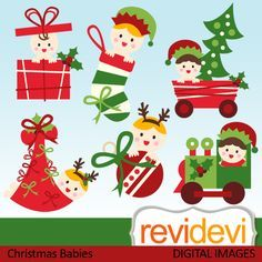Cute christmas baby cliparts.  These   digital images  are  great for any craft and creative    projects.